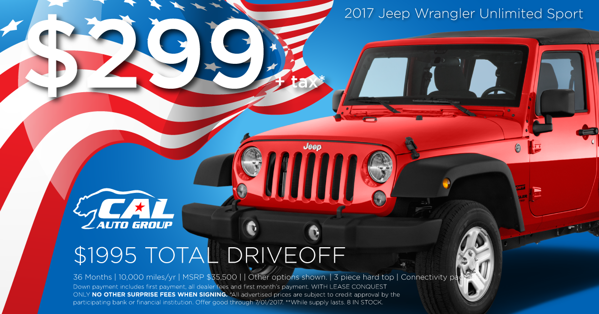 2017 Jeep Wrangler unlimited (4 door) Sport Package!
